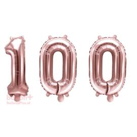 Getal - 100 - Cijfers /  Nummers - Rose Goud - Folie Ballon (lucht) 35 cm