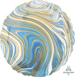 Marmer - Blauw / Wit / Goud - 17 Inch / 43 cm