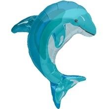 Dolfijn Blauw - Folie Ballon XXL - 31 Inch. / 79cm