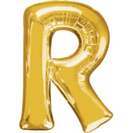 Letter R ballon goud 86 cm - folieballon letter alfabet helium of lucht