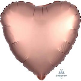 Hart - Satin Luxe Rose Koper - Folie Ballon - 17 Inch/43 cm