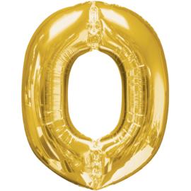 Letter O ballon goud 86 cm - folieballon letter alfabet helium of lucht