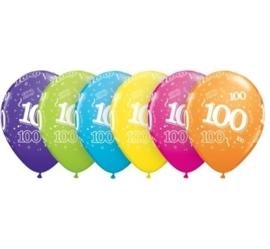 100 - nummer -  div. kleuren - latex ballon - 11 inch/27,5cm