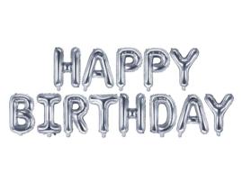 Happy  Birthday - Zilver - Slinger van letters /folie ballonpakket - 35 cm / geschikt voor lucht vulling