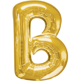 Letter B ballon goud 86 cm - folieballon letter alfabet helium of lucht