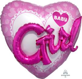 Baby Girl - 3D effect - XXL Folie Hart  Ballon- 36x36 Inch/91x91 cm