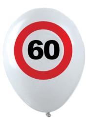 60- cijfer- verkeersbord  - latex ballon - 11 inch/27,5cm - 6 st.