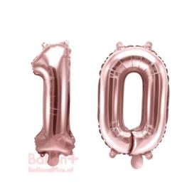 Getal - 10 - Cijfers /  Nummers - Rose Goud - Folie Ballon (lucht) 35 cm