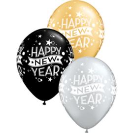 Happy New Year - Latex Ballon - 11 Inch / 27,5 cm -5 st.