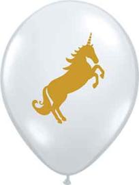 Unicorn- Doorzichtige Gouden Latex Ballon - 11 Inch/27cm