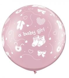 A Baby Girl  - baby schoentjes / slapje / hartje - Metallic Roze - XXL Latex Ballon - 30 Inch /75 cm