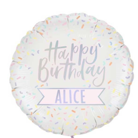 Happy Birthday - Pastel Tinten Spikkers - Personaliseerbaar - Iriserende Folie Ballon - 24 Inch. / 60cm