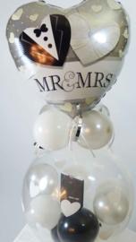 Cadeau - Kado Ballon - Huwelijk - Mr. & Mrs. - Hartjes- Folie Topballon