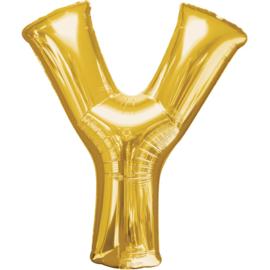 Letter Y ballon goud 86 cm - folieballon letter alfabet helium of lucht