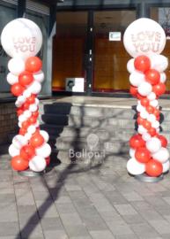 Ballonnen Pilaar - Grieks - Rood / Wit
