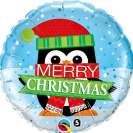 Merry Christmas - Vrolijke Pinguïn - Folie Ballon - 18Inch/45cm