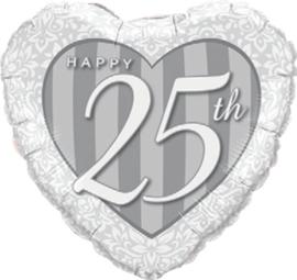 Happy 25th - Folie Ballon - Hart - Zilver - 18 Inch / 46cm