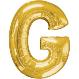 Letter G ballon goud 86 cm - folieballon letter alfabet helium of lucht