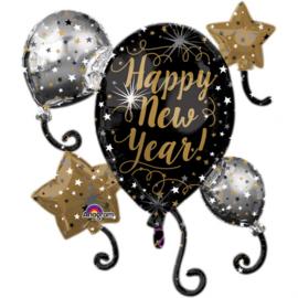 Happy New Year ! - Goud / Zilver / Zwart - Folie Cluster - XXL - 29 X 30 Inch / 73 X 76 cm.