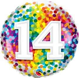14 - Regenboog Confetti Folie Ballon - Rond - 18in/45cm