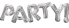 Party - letters aan elkaar - Zilver-  Folie ballon - 33 X 9 Inch / 83 X 22 cm (Lucht)