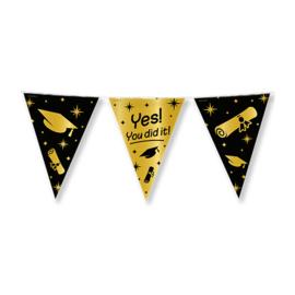 YES!You did it! - Goud/Zwart - Vlaggenlijn - 15 vlaggen van 30 cm - 10 m -