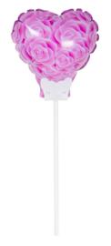 Hartje met roze rozen - Small Folie Ballon incl. kaartje- 6 inch/15cm