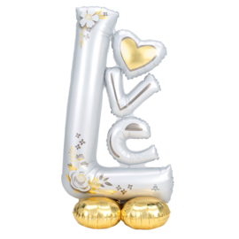 LOVE - Wedding - Wit/Goud - XXL Folie Ballon- 29 x 58 Inch/73cm x147cm