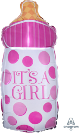 It's a Girl - Roze - Baby Fles - Folie Ballon - 10x23 Inch / 25x58 cm