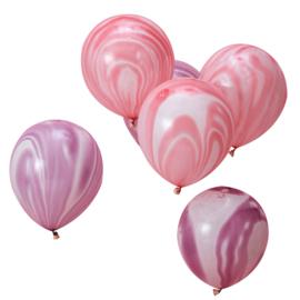 Marmer Ballonnen - Roze/Paars - Latex Ballon  - 12 Inch / 30 cm - 10 st.