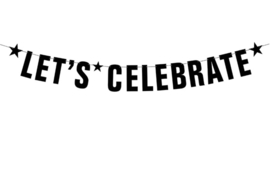 Letter banner - Laten we vieren, let's celebrate slinger - zwart - 106 cm slinger let's celebrate