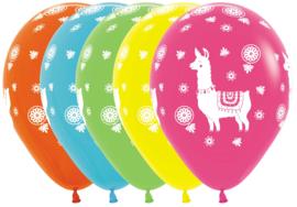 Lama - Latex ballonnen - div. kleuren - 12 Inch. / 30 cm - 5 st.
