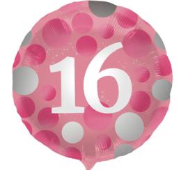 16 - Roze/Zilver - Folie Ballon - 18 Inch/45cm