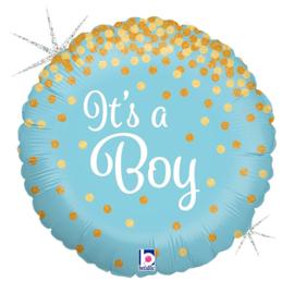 It's a Boy - Goud / Blauw - Glitter Folie Ballon - 18 Inch / 46 cm