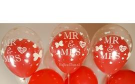 MR & MRS - Transparant - Latex ballon - 11Inch / 27,5cm