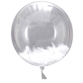 DIY : Doorzichtige Ballonnen - met Witte Veren - Orb ballon - 18 inch/45 cm- 3 stuks
