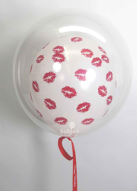 Decoratie Helium Ballon  -  Transparant met rode kusjes Latex ballon - 20 Inch/ 50cm