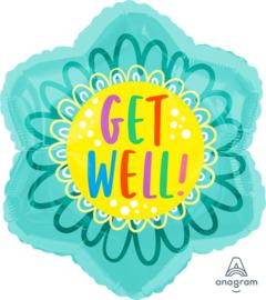 Get Well ! - Bloem Folie Ballon - 18x18 Inch / 45x45 cm