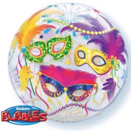 Venetië / Carnaval - Div. Kleuren - Maskers - Bubbles Ballon - 22 Inch / 56 cm.