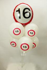 Ballonnen Tafelstuk - 16 jaar verkeersbord - Folie en Latex ballonnen - 1.25 x  0.65 cm