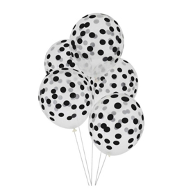 Confetti - Zwart Geprint - Latex Ballon - 12 Inch. / 30 cm