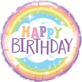 Regenboog - Happy Birthday - Pastel kleuren - Folie Ballon - 18 Inch/46cm
