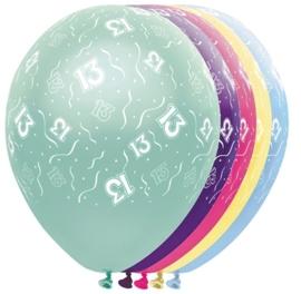 13 - Nummer -  div. kleuren - Latex Ballon - 11 Inch / 27,5 cm
