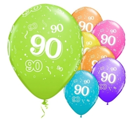 90 - nummer - div. kleuren - latex ballon - 11 inch/27,5cm - 5st