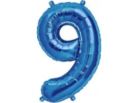 Cijfer - 9 - nummer - Blauw - Folie ballon (lucht) - 16inch / 40 cm