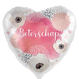 Beterschap met bloemen - Roze / Wit Satijn- Hart Ballon - 17 Inch /43 cm