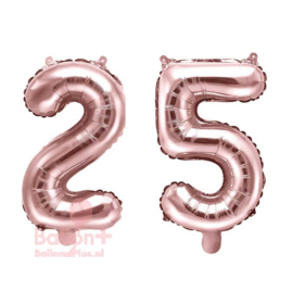Getal - 25 - Cijfers /  Nummers - Rose Goud - Folie Ballon (lucht) 35 cm