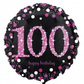 100  - Folie Ballon-Happy Birthday -Confetti - Fuchsia / Zwart  17 Inch / 43 cm.
