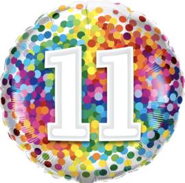 11- Regenboog Confetti Folie Ballon -18Inch/46 cm