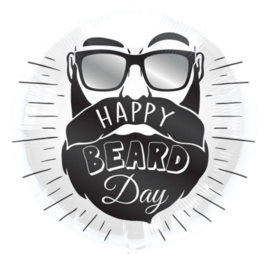 Happy Beard Day - Zwart /Wit - Folie Ballon - 18 Inch/45 cm